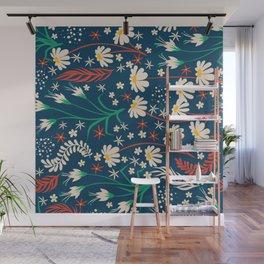 Mid Century Summer Floral Daisy Pattern Wall Mural