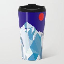 Snowy mountain, red sun Travel Mug