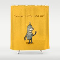 bender Shower Curtains featuring Bender Toki by KarolynSeonjoo