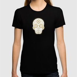 Día de Muertos Calavera • Mexican Sugar Skull – Blue & Rose Gold T-shirt