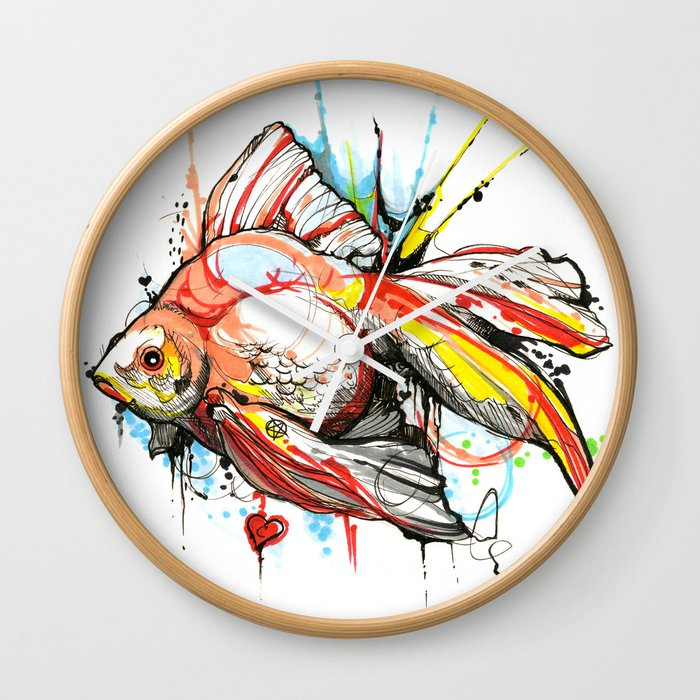 Fish wall clock by milkywayshop society6 for Fish wall clock