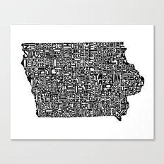 Typographic Iowa Canvas Print