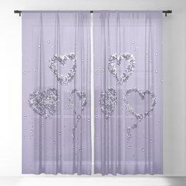 Ultra Violet LOVE Glitter Hearts #1 #shiny #decor #art #society6 Sheer Curtain