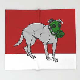 Dog Wearing A Gas Mask Throw Blanket