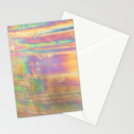 Holographic colorful rainbow stripes Stationery Cards