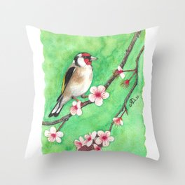 Watercolor  Spring Goldfinch Bird Painting Throw Pillow