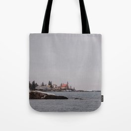 Lighthouse Winter Waterfront on Lake Superior Tote Bag