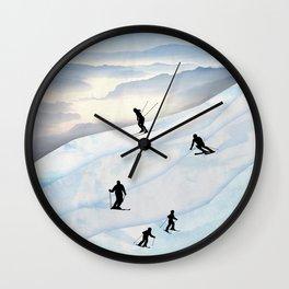 Skiing in Infinity Wall Clock