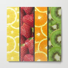 Colorful Fruit Grid Collage Metal Print