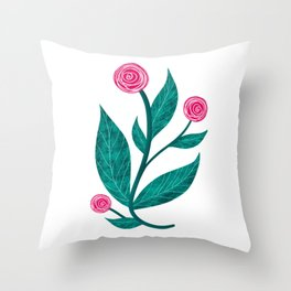 Papercut red roses on white background Throw Pillow