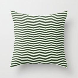 Dark Forest Green and White Chevron Zigzag Stripes Throw Pillow