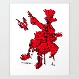 Funcle Slam in Red Art Print