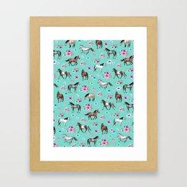 Hand drawn horses, Flower horses, Floral Pattern, Aqua Blue Framed Art Print