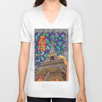 eiffel tower V-neck T-shirts featuring Eiffel Tower by Art By Carob