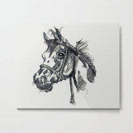 Horse Ink Drawing Metal Print