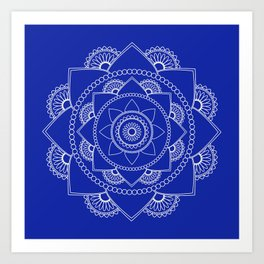 Mandala 01 - White on Royal Blue Art Print