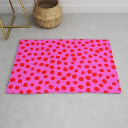 Keep me Wild Animal Print - Pink with Red Spots Rug
