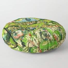 The Garden of Earthly Delights Triptych by Hieronymus Bosch Floor Pillow