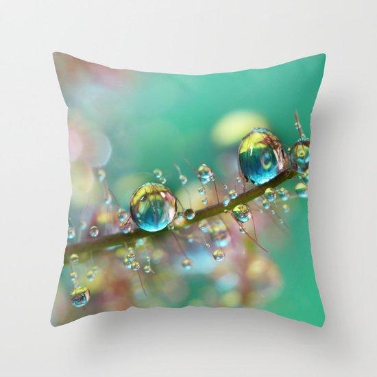 Smokey Rainbow Drops Throw Pillow