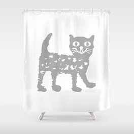 Gray cat pattern Shower Curtain