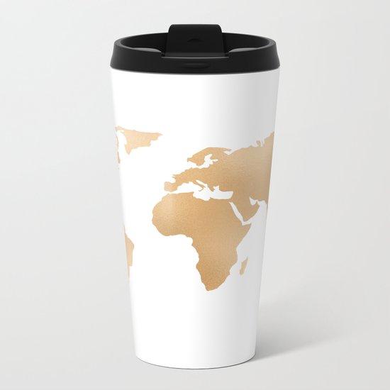 World Map Copper Bronze Gold Metallic Metal Travel Mug