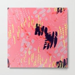 Navy, Yellow & Pink Animal Tracks in Wilderness Metal Print