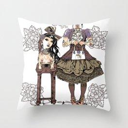 Kawaii and dog Tonton AL Throw Pillow