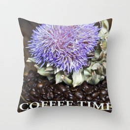 Coffe Beans and Blue Flower of Artichoke Throw Pillow