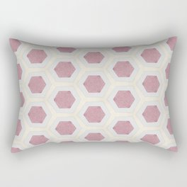 Pink Hexagon and Cream Pattern Design Rectangular Pillow