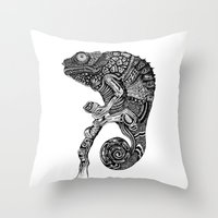 chameleon Throw Pillows featuring Chameleon  by Rebexi
