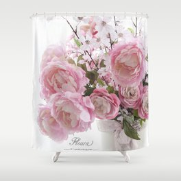 Paris Shabby Chic Pastel Peonies French Script Typography Dreamy Floral Wall Art Home Decor Gifts Shower Curtain