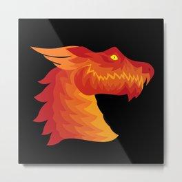 Friendly Dragon Face Metal Print