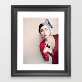 """""""Who Me?"""" - The Playful Pinup - Red and Black Pin-up Girl by Maxwell H. Johnson Framed Art Print"""