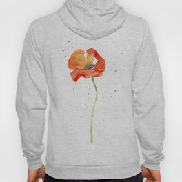 Red Poppy Painting Watercolor Hoody