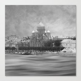 View from the Neva b&w Canvas Print