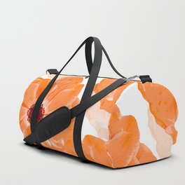 Beautiful Coral Color Flowers White Background #decor #society6 #buyart Duffle Bag