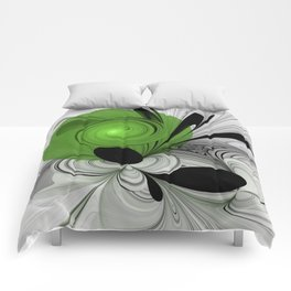 Abstract Black and White with Green Comforters