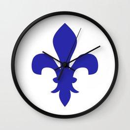 Fleur de Lis (Navy Blue & White) Wall Clock