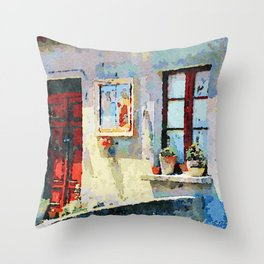 Catanzaro: door, saintly edicule and window Throw Pillow