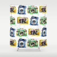 cameras Shower Curtains featuring Vintage Cameras by Abby Diamond