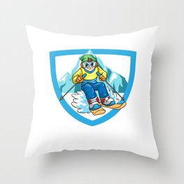 Skiing Skier Downhill Throw Pillow