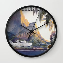 Fly to South Sea Isles, American Airways Vintage Travel Poster  Wall Clock