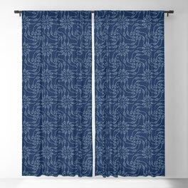 Floral leaf motif sashiko style japanese needlework pattern. Blackout Curtain