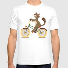 Raccoon on a bicycle White Mens Fitted Tee MEDIUM