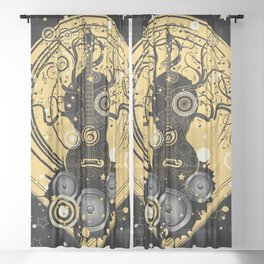 Retro geometric music themed design with guitar tree Sheer Curtain