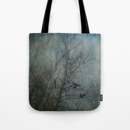 Blackbird Convention on a Snowy Day Tote Bag