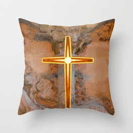 Christchurch Priory - Jesus on the Cross Throw Pillow