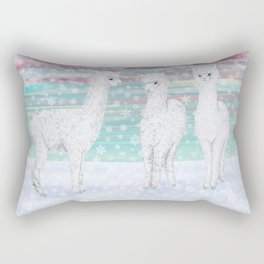 alpacas in the snow Rectangular Pillow