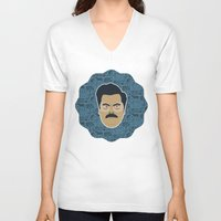 parks and recreation V-neck T-shirts featuring Ron Swanson - Parks and recreation by Kuki