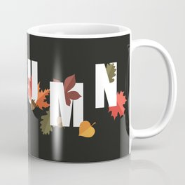 Autumn word and leaves WHITE Coffee Mug